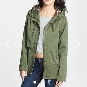 Topshop army green parka with plaid hood